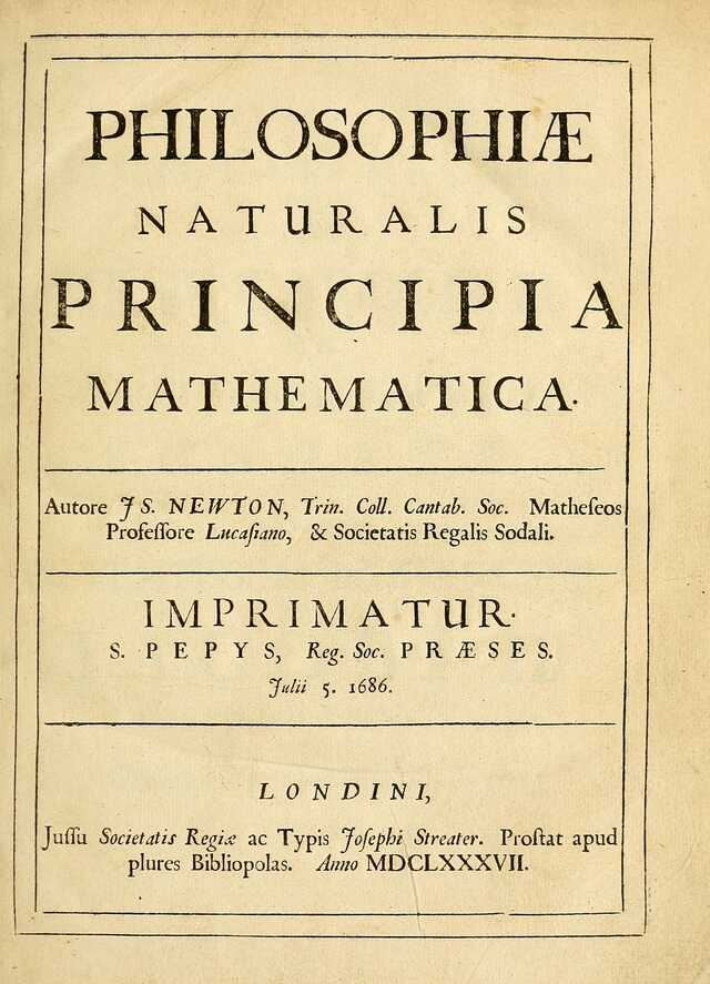 "Обкладинка книги ""Математичні начала натуральної філософії"" Ісаака Ньютона"